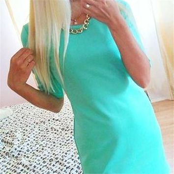 Women Summer Style Half Sleeve Mini Dress Costume Casual Slim Party Dress Clothes Top S-XL