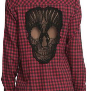 Super Comfortable Red Plaid Long Sleeve Patterned with Skull on Back FREE SHIPPING !!!