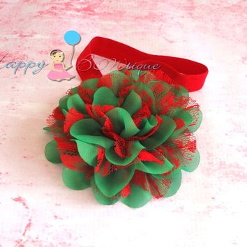 Large Red and Green Chiffon Lace Flower Headband / Christmas Headband