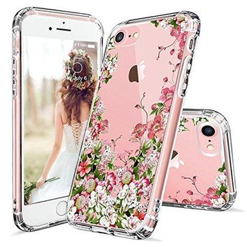 iPhone 7 Case, iPhone 7 Clear Case, MOSNOVO Floral Printed Flower Clear Design Transparent Plastic Hard Slim Case with TPU Bumper Protective Cover for Apple iPhone 7 (4.7 Inch)