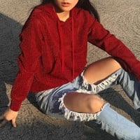 Fashion Hoodies Tops Winter Ladies Pullover [46603534351]