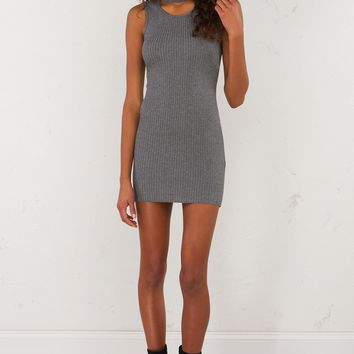 Sleeveless Ribbed Mini Dress in Black and Grey