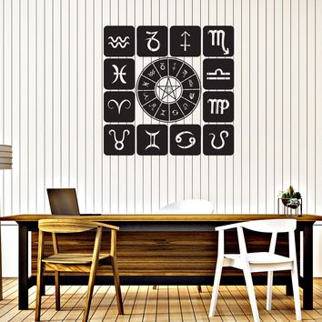 Vinyl Decal Wall Sticker Zodiac Set Icons Astrological Studio Art Design Unique Gift (n900)