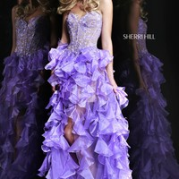 Sherri Hill 11093 Lace and Ruffle Prom Dress
