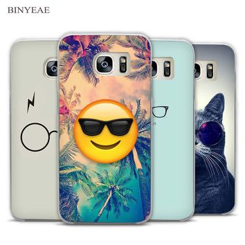 BINYEAE Flat Hipster Glasses Clear Phone Case Cover for Samsung Galaxy Note 2 3 4 5 7 S3 S4 S5 Mini S6 S7 S8 Edge Plus