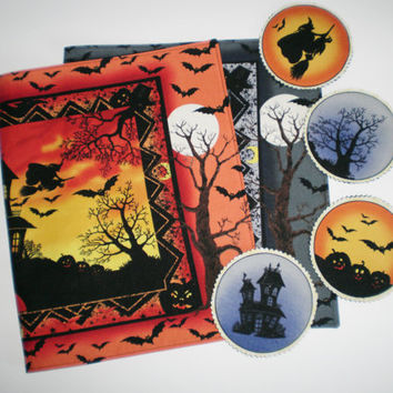 Halloween Placemats Set of Two with Coasters Haunted House Table Toppers Moon Bats Halloween Home Decor