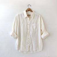 vintage natural white shirt. linen & cotton button down shirt. modern minimalist. women's blouse.