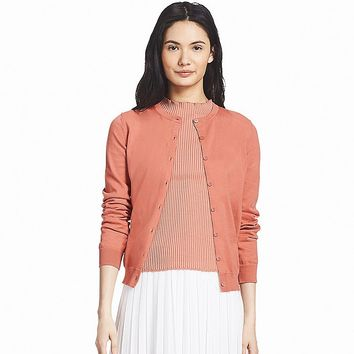 WOMEN SUPIMA® COTTON UV-CUT CREWNECK CARDIGAN