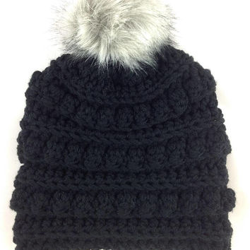 Black Pom Pom Hat - Chunky Hat - Bobble Hat - Bobble Toboggan - Womens Winter Hat - Toboggan Hat - Pom-Pom Hat - Fur Pom Pom - Warm Hat