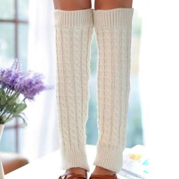 ieasysexy Women Ladies Winter Fashion Leg Warmers Stocking Knit Thick Long Socks Lady Knit Crochet Legging Best Xmas Gift (white)