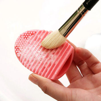1 PC. 5 colors silicone cosmetic cleaning up washing brush UV Gel net scrubber tool as a basis for make-up for cleaning NA25