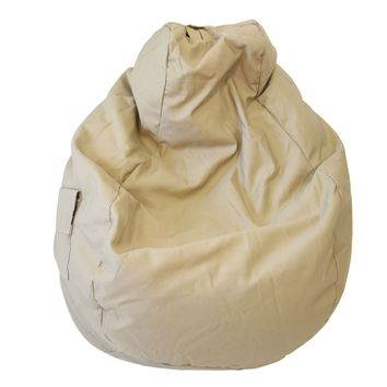 Large Tear Drop Demin Look Bean Bag with Pocket Khaki