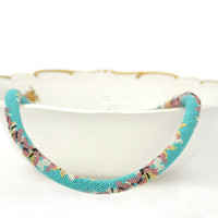 "Bead Crochet Necklace ""Sakura "" Japanese style  Blue turquoise   Bronze  Pink  Gold  Pastel  Bedwork  Jewelry Ready to shipment"