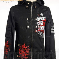 Last Chance: Gothic Punk Prints Coat & Hood*Man S Black Instant Shipping