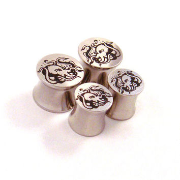 Octopus 316L Steel Plugs  Double Flared  2g 0g 00g by KCsGlass