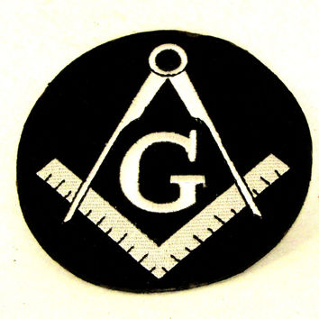G Mason symbol  White on black round Iron on Small Badge Patch for Biker Vest
