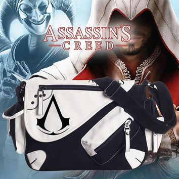 High Quality Assassins Creed Cosplay Weapons Shoulder Bag Patent Leather Canvas Travel New Oblique Satchel Bag Messager Bag