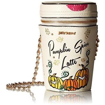 Betsey Johnson Kitsch Pumpkin Spice Crossbody Bag, Ivory, One size