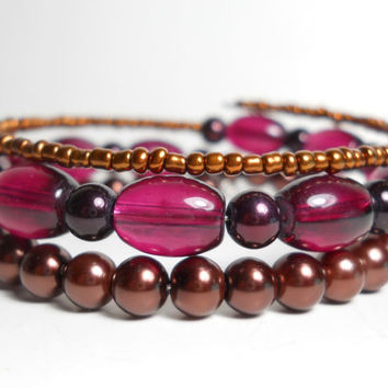 Bohemian Wrap Bracelet Autumn Brown and Burgundy Memory Wire Bracelet