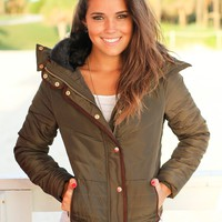 Olive Quilted Jacket with Fur Collar