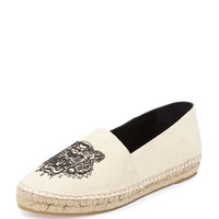 Kenzo Tiger-Embroidered Canvas Espadrille Flat, Mastic