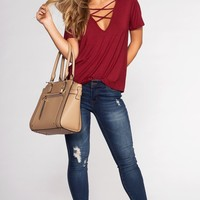 Kaia Cross Over Top - Burgundy