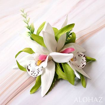 White Orchid Burst Hawaiian Flower Hair Clip