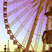 Paris Ferris Wheel with Eiffel Tower Fine Art Photography Print