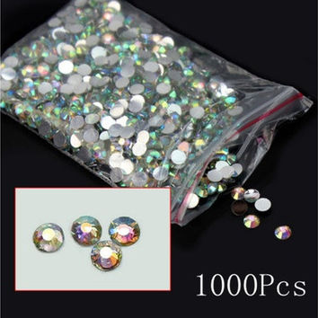 1000Pcs Nail Art Fashion Flatback Crystal AB Resin Women Jewelry Round Rhinestone 14 Facets Beads 4mm Gift [7983385863]