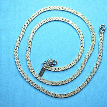 MONET Vintage Textured Silver Snake Chain Necklace, Beautiful and Classic! #A725