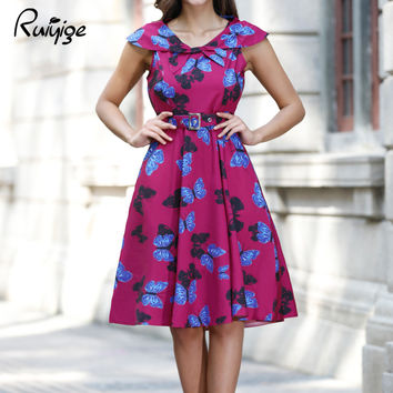 2017 RUIYIGE New Arrival Women Floral Print Sleeveless Vintage 50s 60s Casual formal evening party Retro lady Dress vestido C893