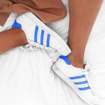 """Adidas"" Suprstar Casual Sport Shell-toe Flats Shoes Wome Men Sneakers Sport Shoes Blue"