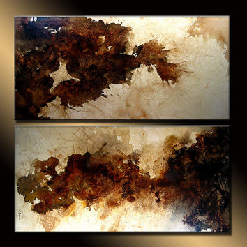 Original Large Abstract Fine Art on Canvas Brown white Modern Abstract Painting Ready to Hang 36x36 By Henry Parsinia by