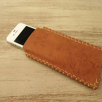 iPhone 5 Sleeve, iPhone 4 case, Leather sleeve for iPhone 5, leather case, Caramel Brown,accessories, hand stitched, man, woman, gift, bonus