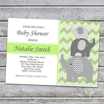Unisex Baby Shower Invitations Boy Girl Elephant Baby Shower Invitation Gender Neutral Baby Shower Invitation Printable Invites Green (L10)