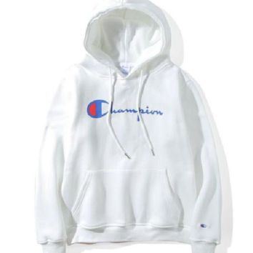 Champion couple sets the head sweater couple models Plus velvet hooded sweater simple printing class service White-1