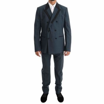 Dolce & Gabbana Blue Wool Double Breasted 3 Piece Suit