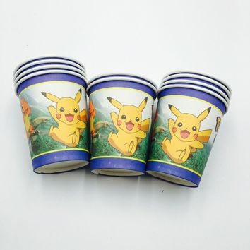 10pcs/lot  Go disposable cups baby shower party decoration  Go party favors  Go cups glassKawaii Pokemon go  AT_89_9