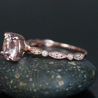 Pink Morganite Rose Gold Ring in 14k With Morganite Round 8mm and Diamond Band