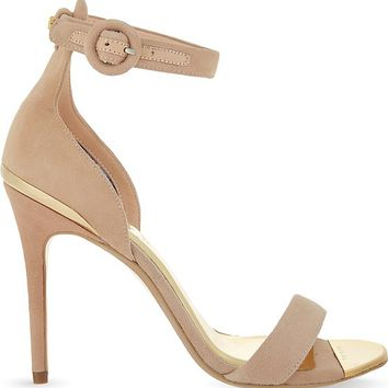 TED BAKER - Rynne ankle strap heeled suded sandal | Selfridges.com