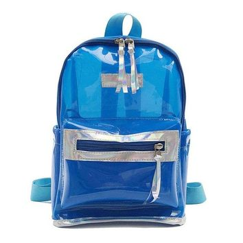 Clear Backpacks popular Women PVC Transparent Jelly Large Backpacks Girls Clear Backpack 2018 Summer New Fashion Students Casual Backpack Mochila XA493H AT_62_4