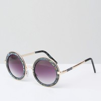 ASOS Round Sunglasses With Metal Sandwich And Double Nose Bridge In Acetate Transfer