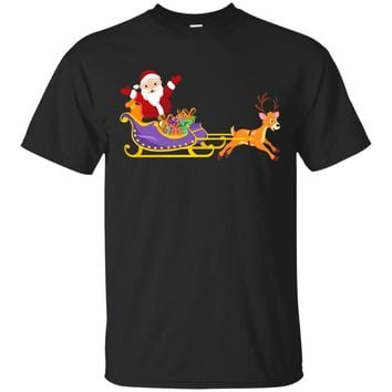 Santa's Sleigh Cute Holiday Gift T-Shirt For Boys and Girls