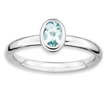 Silver Stackable Oval Aquamarine Solitaire Ring