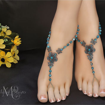 Teal Turquoise Shell Flower Butterfly Barefoot sandals