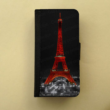 Paris by night Eiffel tower iPhone 4 5 flip case Samsung Galaxy S3 S4 wallet, french iPhone wallet, book style, Samsung iPhone 5