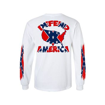 Men's Confederate Rebel Flag Long Sleeve Shirt Defend America 4 Sides Graphic