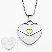Sweet Sentiments Stainless Steel & Gold Ion Envelope Heart Locket (Grey)
