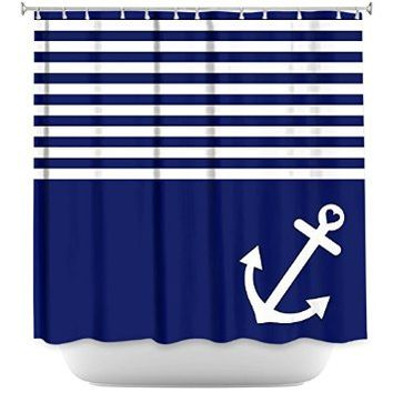 Shower Curtain Artistic Designer from DiaNoche Designs Stylish, Decorative, Unique, Cool, Fun, Funky Bathroom - Navy Blue Love Anchor Nautical