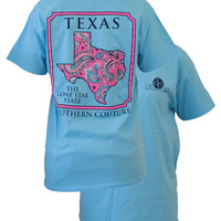 Southern Couture Texas Preppy Paisley State Pattern Lone Star State Girlie Bright T Shirt